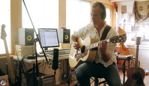 JP Fitting, laying down guitar for this month's Mix Rescue track, 'Prisoner Of Routine'.