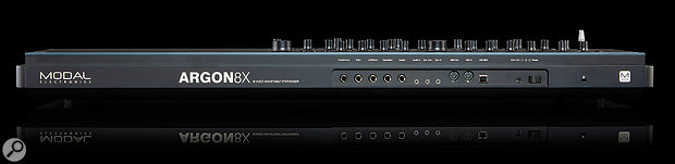 While not going for full modular integration, the Argon8X does include an audio input and analogue sync connections. Also on offer are full-size MIDI I/O ports, quarter-inch audio outputs and inputs for sustain and expression pedals.