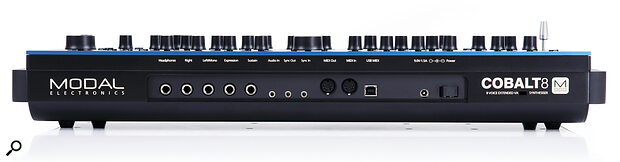 The Cobalt 8's back panel features quarter‑inch sockets for headphone and audio out and pedal inputs, 3.5mm connectors for audio input and sync I/O, full‑size MIDI I/O ports, and aUSB‑B port.