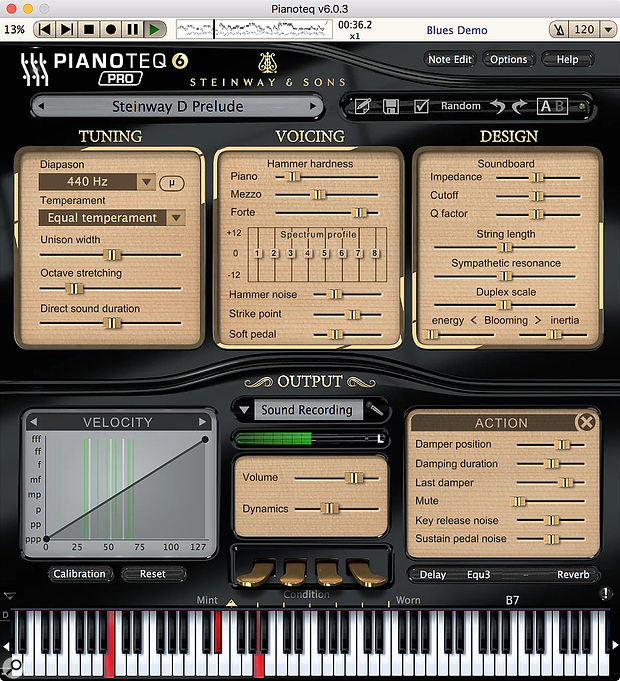 Pianoteq 6, resplendent in polished black with its new Steinway & Sons branding, and with most of its extensive sound editing parameters exposed. The user interface is by default quite compact, but scalable. It also changes its backdrop and design depending on what type of instrument you're playing.