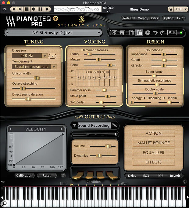 Pianoteq 7 loaded up with its new New York Steinway D. Users of previous versions will feel right at home: all the important changes are under the largely unchanged surface.