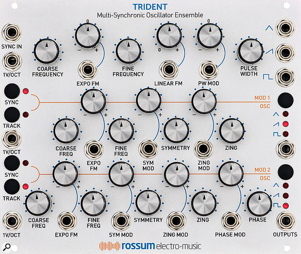 Rossum Electro-Music Trident. Size: 30HP. Current: +12V 290mA, -12V 270mA.