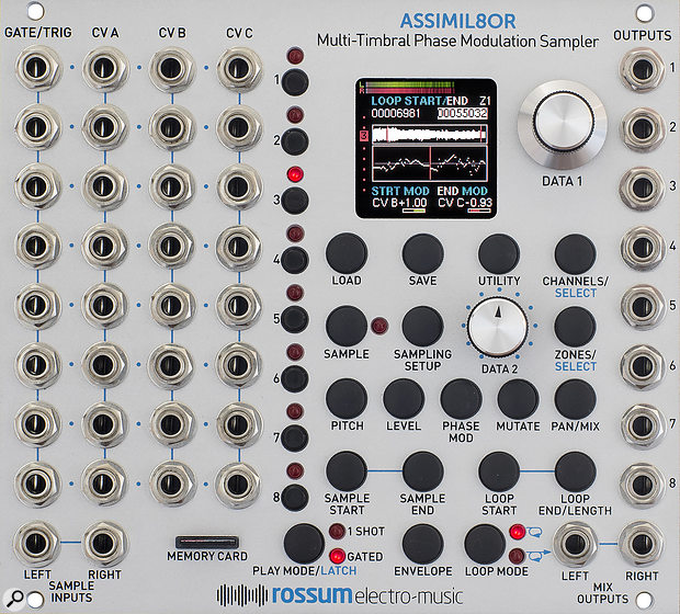 Rossum Electro-Music Assimil8or. Size: 28HP. Current: +12V 220mA, -12V 30mA.