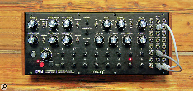 The DFAM has the same dimensions (319 x 107 mm) as the Mother-32, meaning that it can be happily racked alongside one in Moog's optional stand.