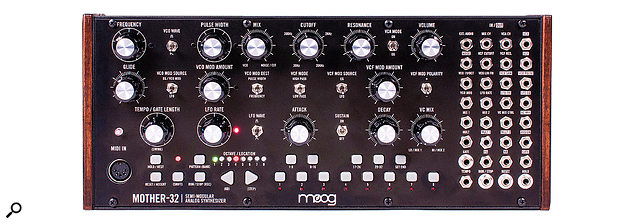 The Mother–32's front panel measures 319 x 107 mm, which in Eurorack terms amounts to 60HP.
