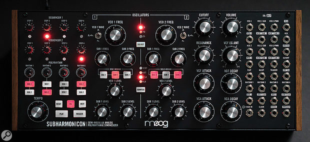 Like the Mother 32 and the DFAM, the Subharmonicon can be removed from its case, turning it into a 60HP Eurorack module.