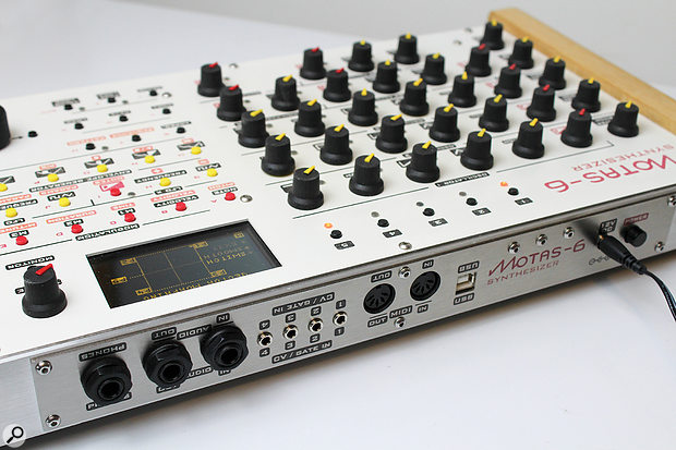 The Motas‑6's rear panel includes quarter-inch headphone and audio outputs, CV and Gate connections, full-size MIDI sockets and a  USB port.