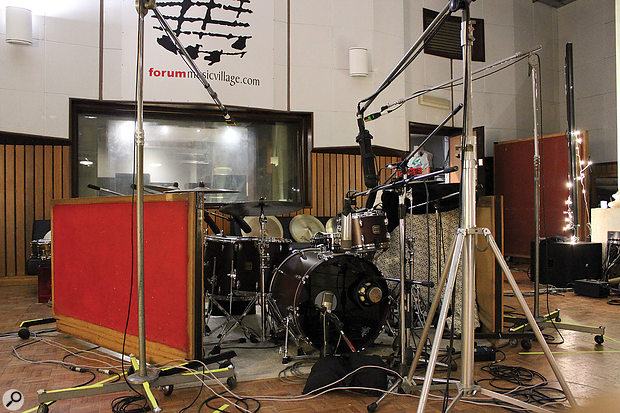"""The drum kit set up at Forum Music Village, in the large live area described by Joe Chiccarelli as """"big but dead""""."""