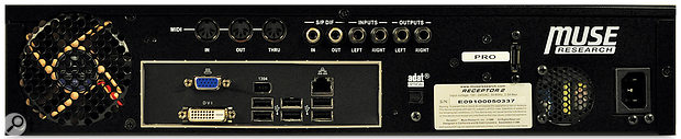 As well as the kind of audio I/O sockets you'd expect to find on a synth, the Receptor's back panel also features an area dedicated to PC-type connections.