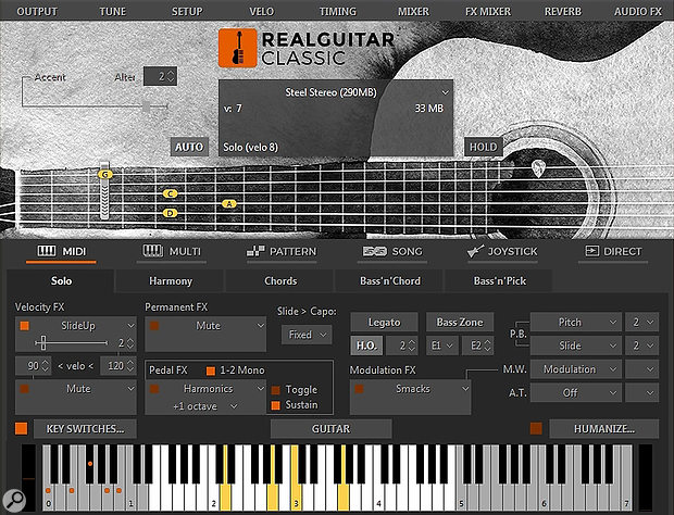 The Classic instrument in Solo mode. The 'legacy' Harmony, Chords, Bass'n'Chord and Bass'n'Pick modes are still here, along with all the original features. Joystick (Guitar Hero controller) is still supported as well as Direct input (no 'intelligent' scripting), so the Classic remains backwards compatible with older projects.
