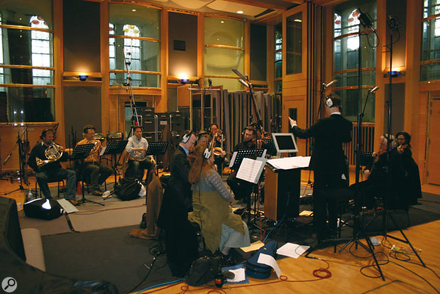 Murray's orchestrator Ben Foster conducting a small string and brass ensemble in AIR Lyndhurst Studio 1, recording scores for Part 6 of the latest series, March 21st 2007.