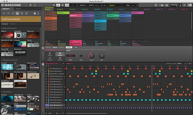 The new hardware incorporates the latest Maschine features like Ideas View and Locks.