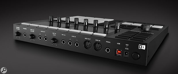 Now afully fledged audio interface, the Maschine 3's back panel hosts connections for stereo I/O, mic input and headphone output, alongside apair of MIDI I/O ports.