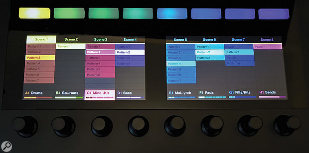 In Maschine's Ideas View you can set up and launch Scenes directly from Komplete Kontrol's display section.