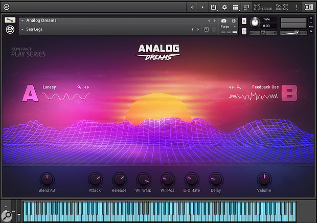One of the new K6 Play series instruments, Analog Dreams. The Macro knobs control predetermined aspects of the sound depending on the currently selected snapshot, and are freely assignable to any MIDI controller. Clicking on the A or B waveform graphics presents a drop-down list of over 100 waveforms to choose from.