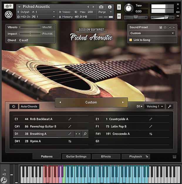 The Picked Acoustic instrument has eight pattern slots, into which complete Song suites in specific styles can be loaded along with an associated Sound Preset, or a mixture of patterns from different Songs, as shown here.
