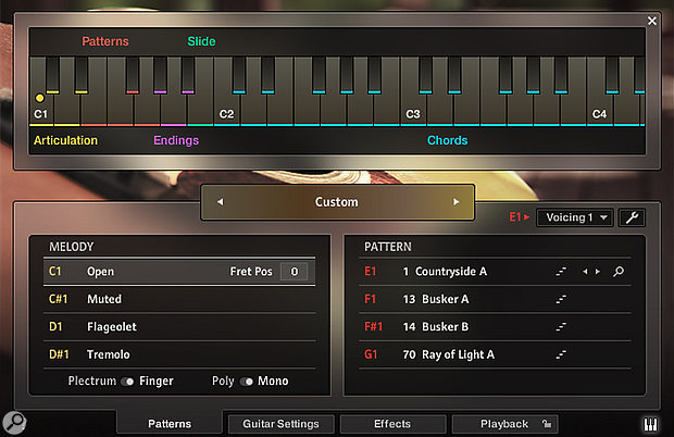 The Melody instrument with four 'freestyle' guitar articulations on the left, and four pattern slots on the right, with keyswitch mapping displayed. Melody articulations are selected with the yellow keyswitches, patterns are selected with the red ones. Purple keyswitches trigger ending slides and body knocks/string slap mutes; the green keyswitch triggers three-semitone slide-ins. Blue keys represent the playing area.