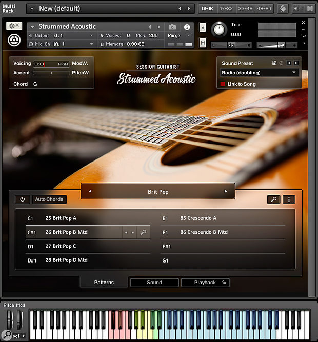 Strummed Acoustic's Pattern page with the keyswitch options mapped onto the Kontakt virtual keyboard.