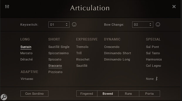 If the automatic, adaptive Virtuoso mode doesn't give you what you need then 20 separate articulations are on hand to fulfil almost all musical requirements.