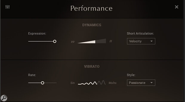 Dynamics and vibrato characteristics can be set up with the mouse in the Performance section, but for better momentary control they all also respond to MIDI CC control.
