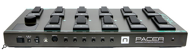 The Pacer's rear panel features a MIDI out port and numerous footswitch, expression pedal and relay outputs.
