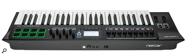 The Panorama's rear panel offers a USB port, a MIDI out socket and quarter-inch inputs for a footswitch and expression pedal.