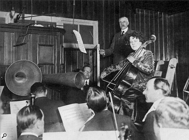 Wacky funster and notorious practical joker Sir Edward Elgar convinces the LSO that enormous horns are necessary to the recording process.