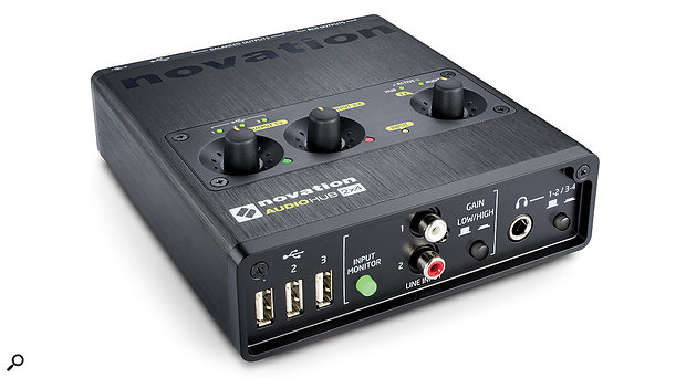 The front panel features a  three–way USB hub, two phono line inputs and headphone socket. Switches are provided for direct monitoring, gain switching the line inputs and to toggle the headphones between the two output pairs. On the top, three volume dials correspond with the two output pairs plus headphone level. LEDs offer simple metering for the inputs and outputs.