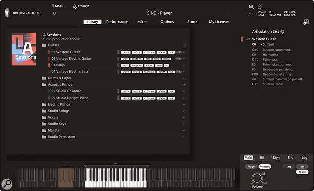 Orchestral Tools Sine player allows you to download instruments straight from the company's website.