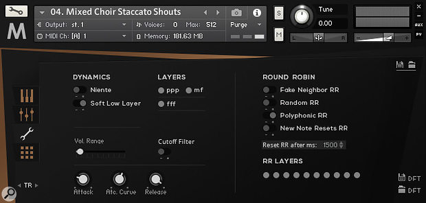 MA4's Settings view allows you to turn a patch's dynamic layers and round‑robin samples on and off.