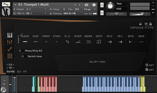 Multi-articulation patches hold up to 12 user-configurable styles — you can add legato transitions to any or all of them.