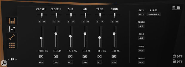 Metropolis Ark 3's percussion has five mic positions and a 'sub' mix designed for the 5.1 surround LFE channel.