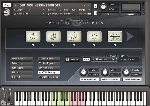 OSR's innovative Runs Builder patches allow you to construct figure‑based violins performances in real time: load the articulation of your choice into one of the 10 play slots (five of which are shown on screen at any one time), select the appropriate key for your piece with one of the 12 green keyswitches, and trigger the phrases by playing the pink keys. Lots of fun when you get the hang of it!