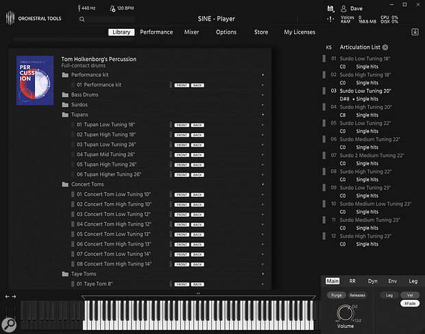 Tom Holkenborg's Percussion runs exclusively on Orchestral Tool's proprietary Sine player. (There is no Kontakt version.)