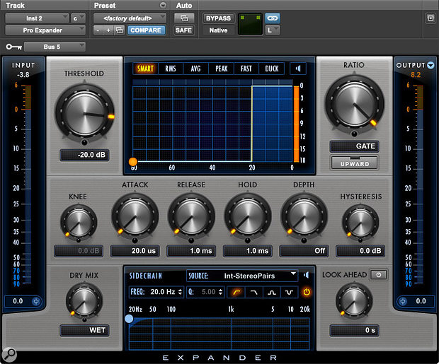 A good way to explore the effect of the Hysteresis control is to feed Pro Expander from the Boom! drum machine, using a kick-drum sound with a long tail.