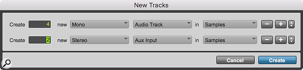 The New Tracks dialogue can be persuaded to create multiple tracks of different types in one go, without needing the mouse
