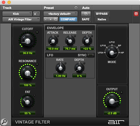 The high-pass mode in the oft-overlooked AIR Vintage Filter plug-in can be used to add a  resonant boost to weedy kick drums.