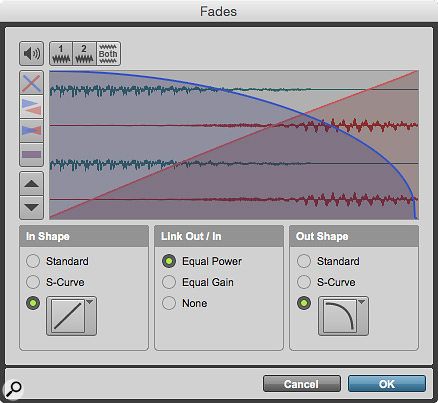 Spot the difference: the Fades dialogue in Pro Tools 11 and 12.3 (above). Note the addition of the five preset buttons.