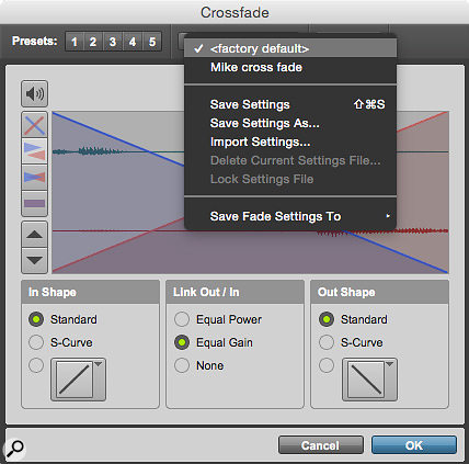 It's now possible to save fade presets either to the Root Settings folder or the Session folder. Once saved, they appear in this pop-up menu.
