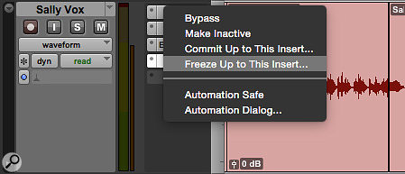 As with Track Commit, it's possible to freeze only part of a  plug-in chain.