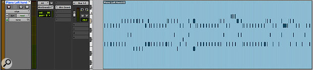 Frozen instrument tracks display both the MIDI data and the audio waveform, though neither is editable.
