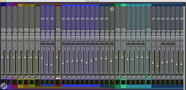 In the Mix window, Folder Tracks are identifiable by their colour banding.