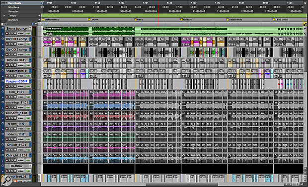 Visible in this Edit window screenshot are six duplicates of an original mix. As you can see, elements have been selectively muted in each. The entire collection has been exported as asingle Bounce to Disk operation, and the resulting file imported to anew track (top).