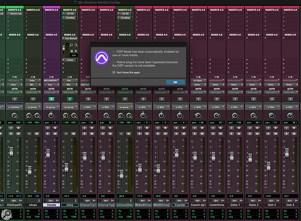 The Hybrid Engine in practice. Enabling DSP Mode on a track in your Session automatically switches all the plug‑ins on that track to DSP versions, essentially turning it into a 'zero‑latency' channel for recording.