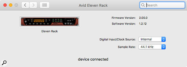 Avid's update to the Eleven Rack software allows it to run on Mac OS Catalina and Big Sur, and also lets you change the clock source and sample rate using the driver control panel.