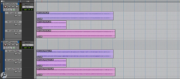 In this simple example, three takes have been recorded to separate Playlists in two audio tracks, which have been Grouped. A fourth, empty Playlist has been created to serve as a receptacle for my composite edit.
