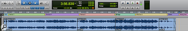 Marker Locations are displayed on the Marker ruler, and can be colour-coded to make song structure obvious at a  glance.
