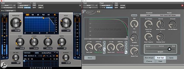 Screen 2: Enabling the loudspeaker icon in the Pro Compressor plug-in means that it only passes audio to the reverb when compression is taking place.