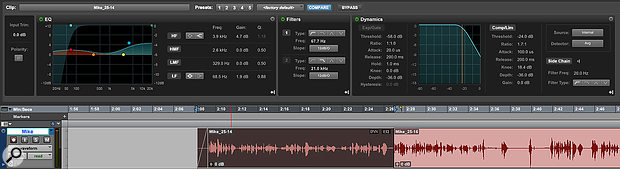 Screen 4: Clip Effects give HD users a non-destructive way of applying EQ and dynamics settings to individual clips.