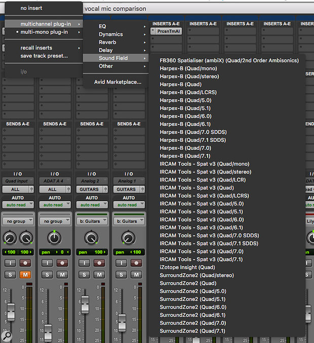 This is the list of multi-channel plug-ins in the Sound Field category that can be instantiated on a four-channel Quad track in Pro Tools HD on my system. Note that most of them are available in multiple versions with different output channel formats. If I instantiate a 'Quad/stereo' version, the following plug-in will 'see' a stereo input.